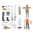 fishing tools isolated on white background banner vector image vector image