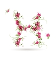 Floral letter H for your design vector image vector image