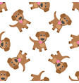 Funny puppy dog cartoon seamless pattern