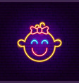 girl face neon sign vector image vector image