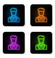 Glowing neon user man in business suit icon