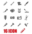 grey art tool icon set vector image vector image