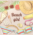 hand drawn beach vacation doodle woman fashion vector image vector image