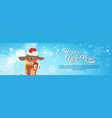 happy new year banner with dog in santa hat vector image vector image