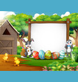 happy rabbit and chicken with easter background vector image vector image