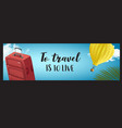 horisontal summer travel banner with vector image