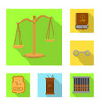 isolated object of law and lawyer sign collection vector image