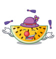 juggling ripe yellow watermelon isolated on mascot vector image
