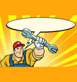 male repairman with a wrench says comic book vector image vector image