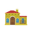 mexican house facade cartoon vector image vector image