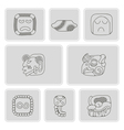 monochrome icons with american indians relics