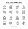 online banking thin line icons set vector image
