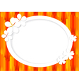 Oval frame for text with white flowers vector image