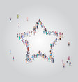 people crowd gathering in star shape social media vector image vector image