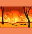 platypus silhouettes running from forest fires in vector image