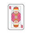 queen card playing isolated old lady in crown vector image