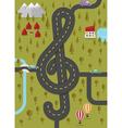 road in shape treble clef vector image