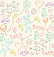 Seamless pattern with love doodles vector image vector image