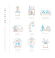 set of interior icons and concepts in mono thin vector image vector image