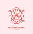 shining brilliant ring in heart shaped gift box vector image
