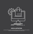 shopping online ecommerce services cart icon line vector image