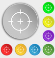 sight icon sign Symbol on eight flat buttons vector image