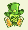 st patrick skull with two glasses beer vector image vector image