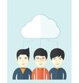 Three asian men under the cloud vector image