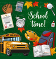 time to school lettering stationery supplies bus vector image vector image