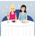 Two girls drink coffee with dessert vector image