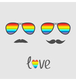 Two glasses with rainbow lenses and mustaches vector image vector image