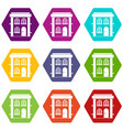 two-storey residential house icon set color vector image vector image