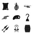 weapon tool icons set simple style vector image