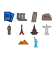 World travel icon set vector image