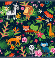 Zoo jungle pattern a tropical bird background