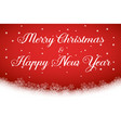 merry christmas and happy new year text on red vector image