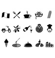black italy icons set vector image