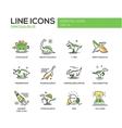 Dinosaurs species- line design icons set vector image