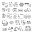 set of hand drawn black line icon vector image