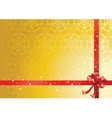 Red ribbon over gold background vector image