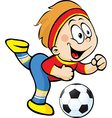 Football player with ball in action - vector image