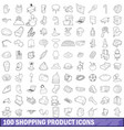 100 shopping product icons set outline style vector image vector image