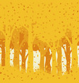 autumnal forest with falling leaves vector image