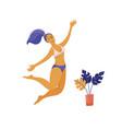 beautiful happy woman in bikini jumping high vector image