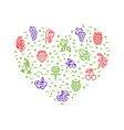 berries signs thin line heart shape design vector image vector image