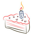 birthday cake drawing on white background vector image vector image