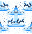 blue merry-go-round seamless pattern vector image vector image
