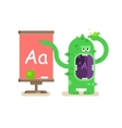 Cartoon monster teaches alphabet vector image vector image