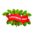 christmas sale banner with typography on red vector image