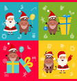 collection oxes characters and santa clauses vector image vector image
